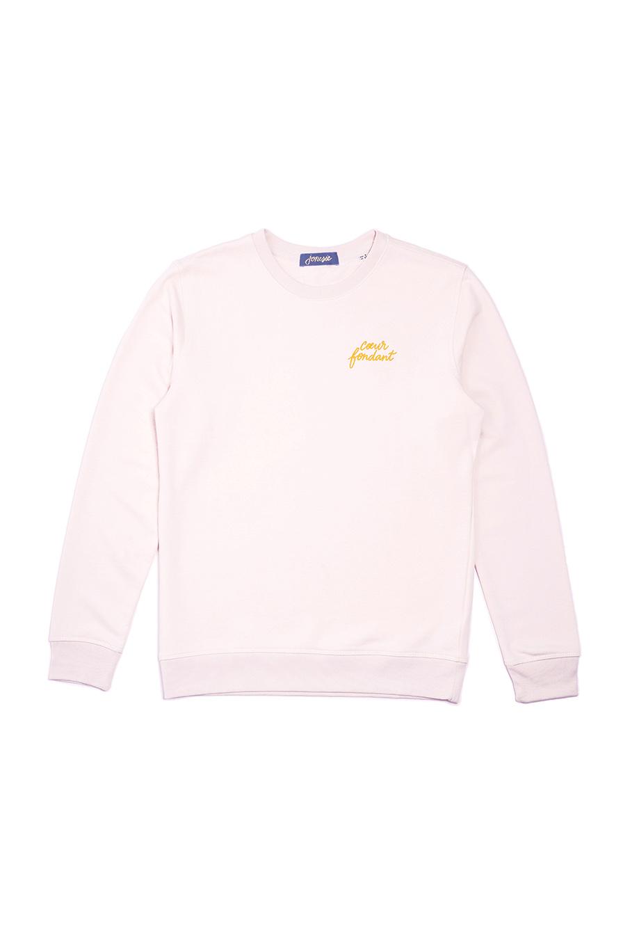 sweatshirt rose brodé