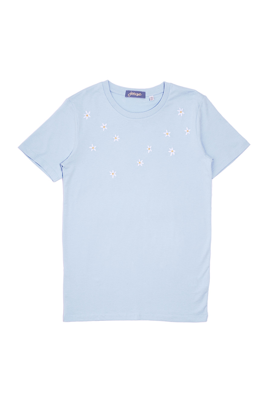 fleurs brodés sur t shirt
