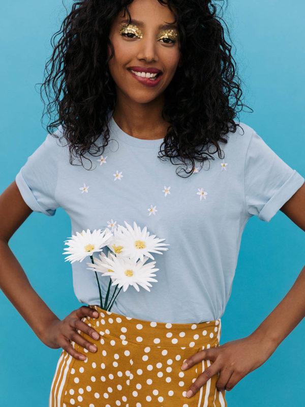 broderie t-shirt coton bio fleurs